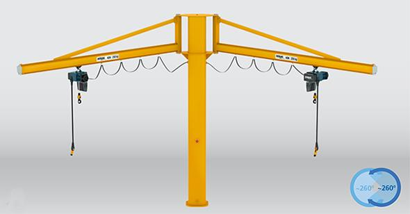 Pillar and wall-mounted slewing jib cranes with two KBK jibs, braced design