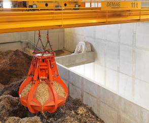 Process cranes for wood-fired cogeneration power stations